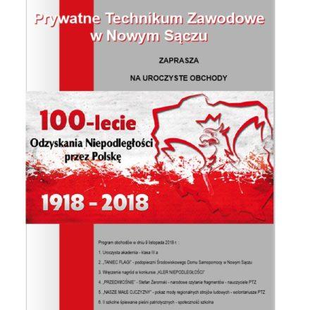 Zaproszenie na uroczyste obchody 100 lecia odzyskania niepodległości przez Polskę