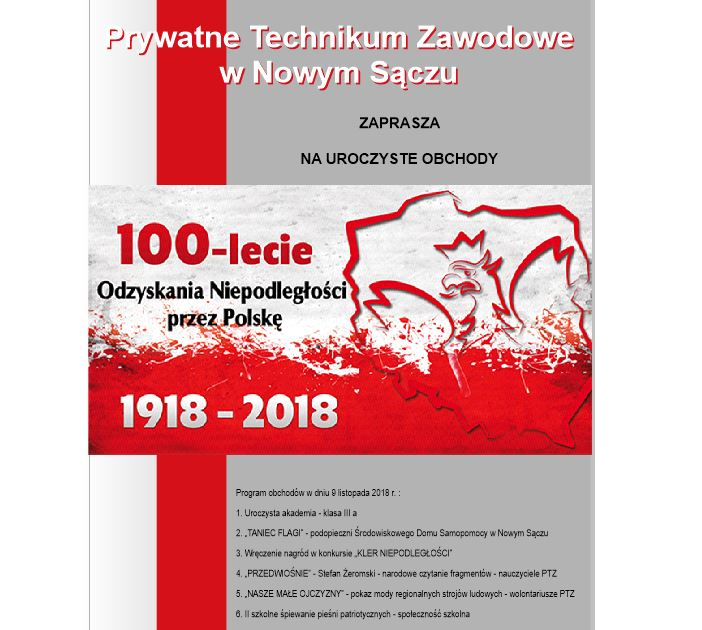 Zaproszenie Na Uroczyste Obchody 100 Lecia Odzyskania Niepodległości